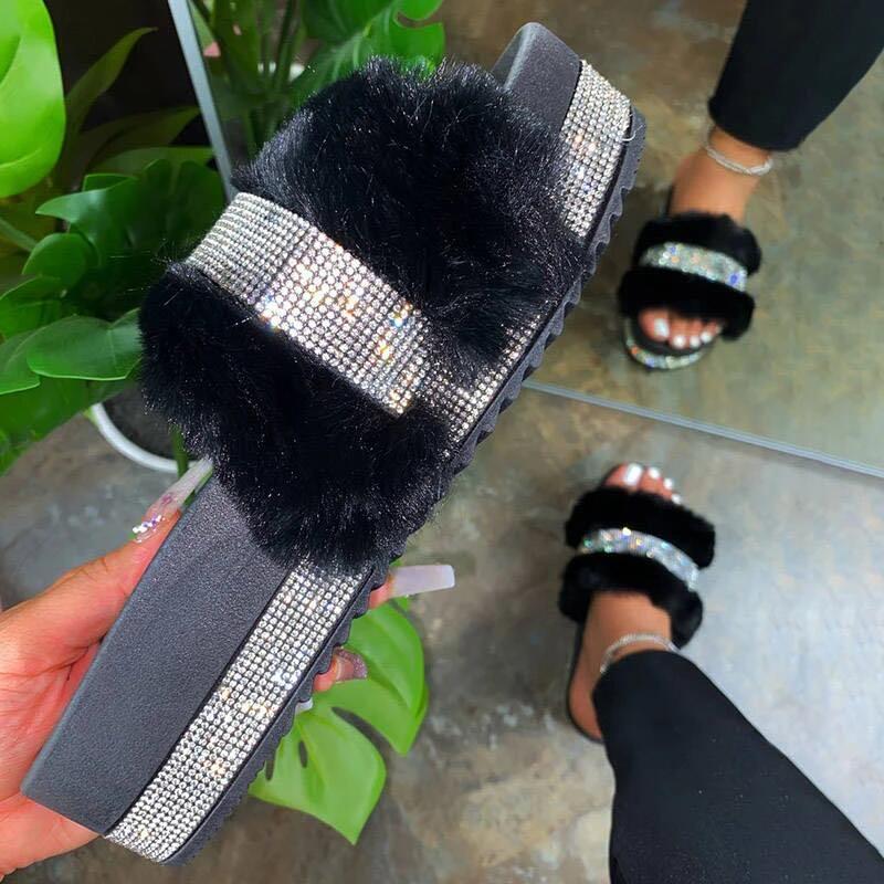 Шлепанцы PDEP женские летние меховые, сланцы со стразами, желе, на платформе, уличные сандалии с блестками, дешевые