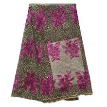 Вышивка Alisa, африканская кружевная ткань, высокое качество 2019 французские сетчатые шнурки с камнями, 5 ярдов/шт, сетчатая кружевная ткань для...(Китай)