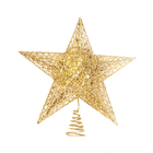 2021 Tree Top Star + LED Light Wrought Iron Glitter Household Tree Top Star Christmas Decoration