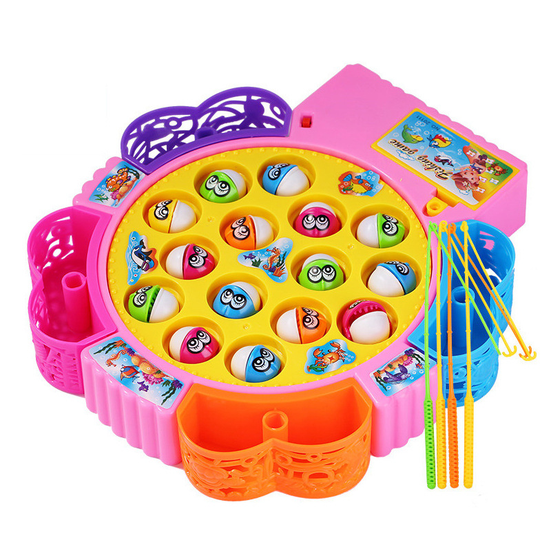 Customizable Baby Gift Plastic Games Electric 15 Fishes Fishing Toy with Music Fishing Game for Kids