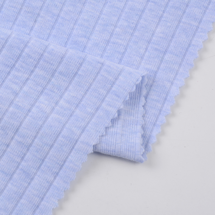 China Supplier Soft High Stretch Cotton Spandex Wide Ribbed Knit Fabric
