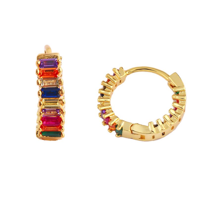 Colorful Hoop Earrings Zircon Hoop Earrings Rainbow Hoop Earrings Gold colorful Hoop Earring