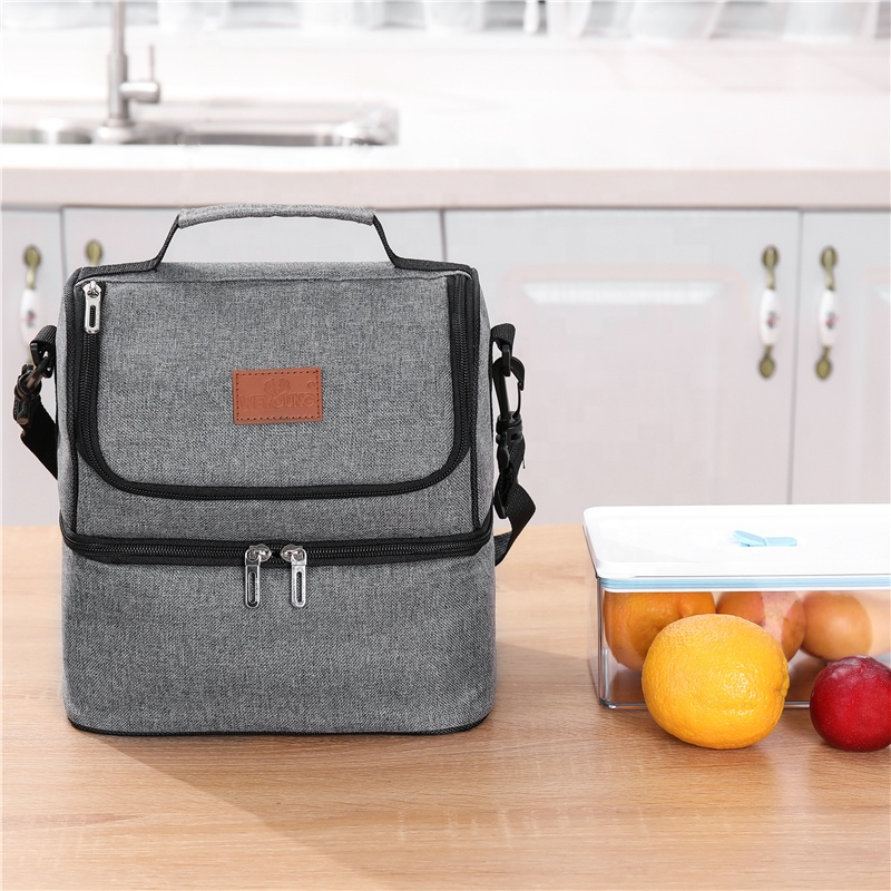 Durable Reusable Double Layer Design Lunch Bag Women School Work Picnic Insulated Cooler Food Bag