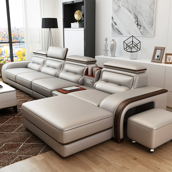 For Custom Prefab Houses On Sales Fancy New Model 4 Seater Genuine Leather Sofa Living Room Furniture
