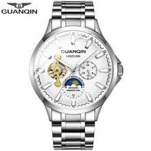 GUANQIN 2019 автоматические часы, мужские часы, водонепроницаемые, нержавеющая сталь, механические, лучший бренд, Роскошные, скелетоны, часы, мужс...(Китай)