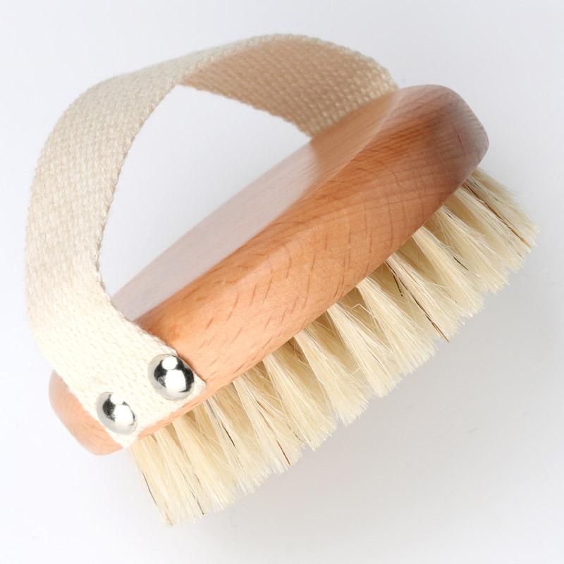 Круглая кисть для купания, щетина кабана, ручная щетка для душа с тканевым ремешком, деревянная кисть для тела