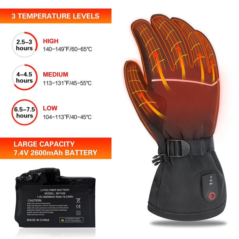 Электрические зимние уличные толстые спортивные перчатки с подогревом и перезаряжаемой батареей, черные перчатки