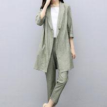 Женский Повседневный хлопковый Блейзер, элегантный комплект из двух предметов для офиса и работы, длинные брюки с эластичным поясом, костюм(Китай)