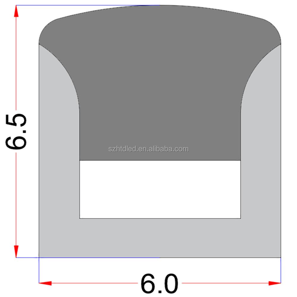 Tube profile 6 x 6 mm Flat Lighting LED Neon light tube Housing case channel for led flexible strip