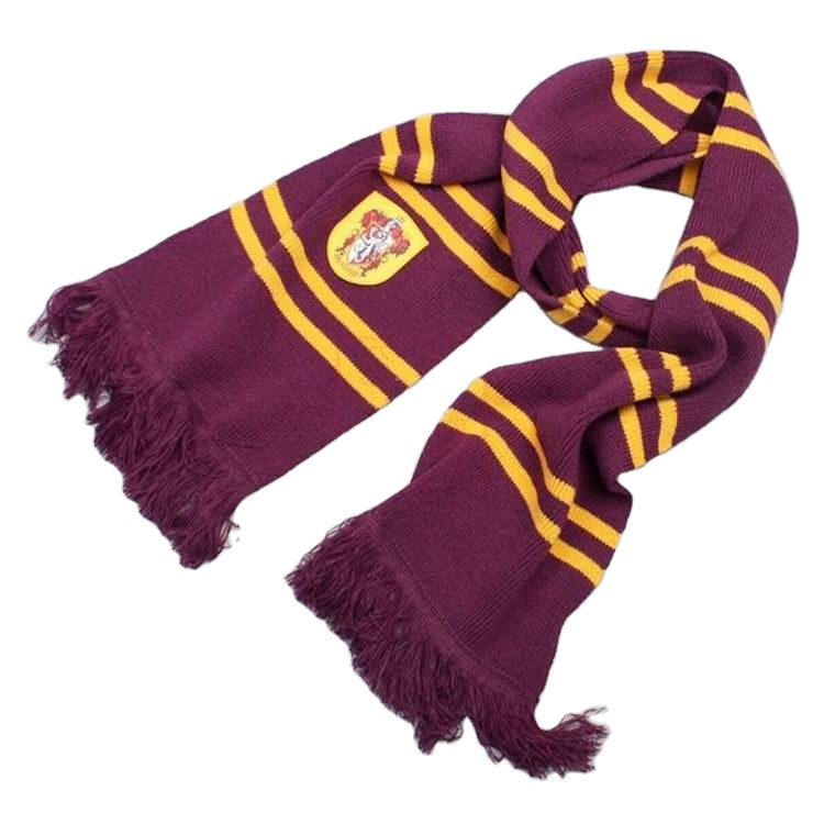 Wholesale 100% acrylic cashmere HarryPotter fans muti color striped winter knit scarf with embroidery logo