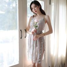 Сексуальное Ночное Платье с g-стринги, кружевная отделка, v-образный вырез, открытая спина, разрез Кружева, сексуальные женские пижамы ночные...(Китай)
