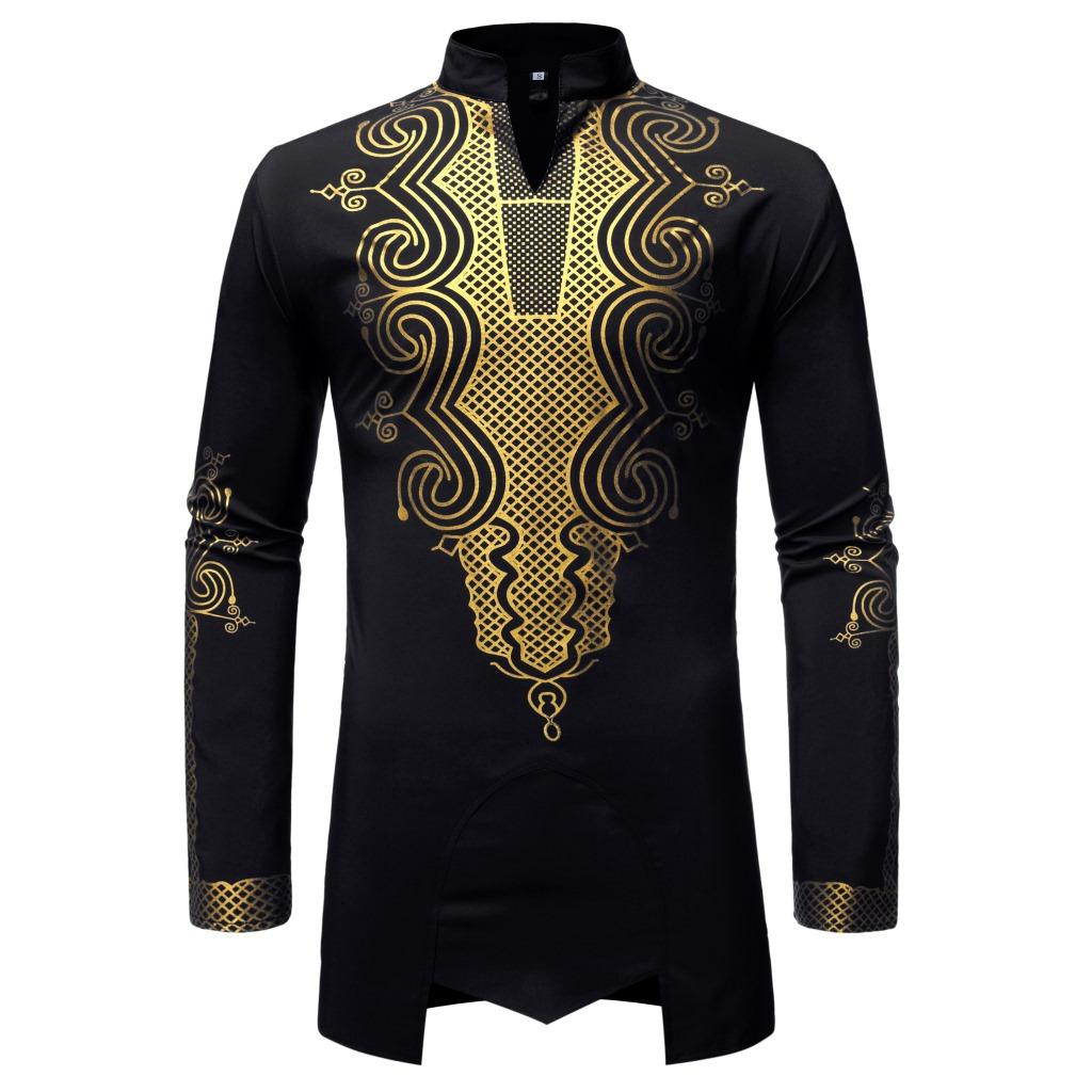 MXCHAN SJH11046 Mid-Length Shirt with Golden Print