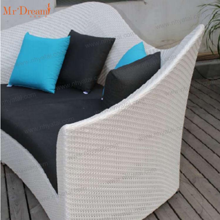 Современный белый коммерческий гостиничный модульный наружный Плетеный садовый секционный диван
