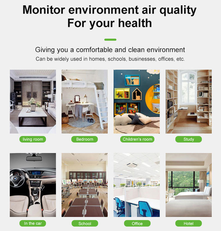 Desktop temperature and humidity monitor TVOC HCHO  PM2.5  indoor air quality monitor