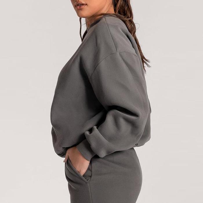 Женский роскошный уличный свитер из 100% хлопка, джемпер оверсайз с вышивкой, свитер с вырезом лодочкой, комплект с худи с тиснением для пар, Женский свитшот