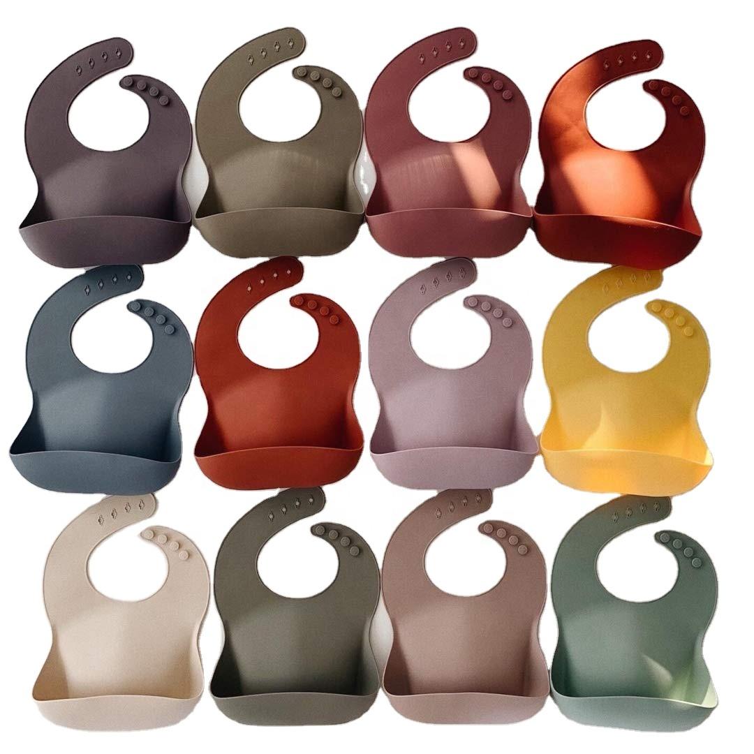 2021 Wholesale Custom Private Label Bpa Free Adjustable Waterproof Silicone Baby Bibs