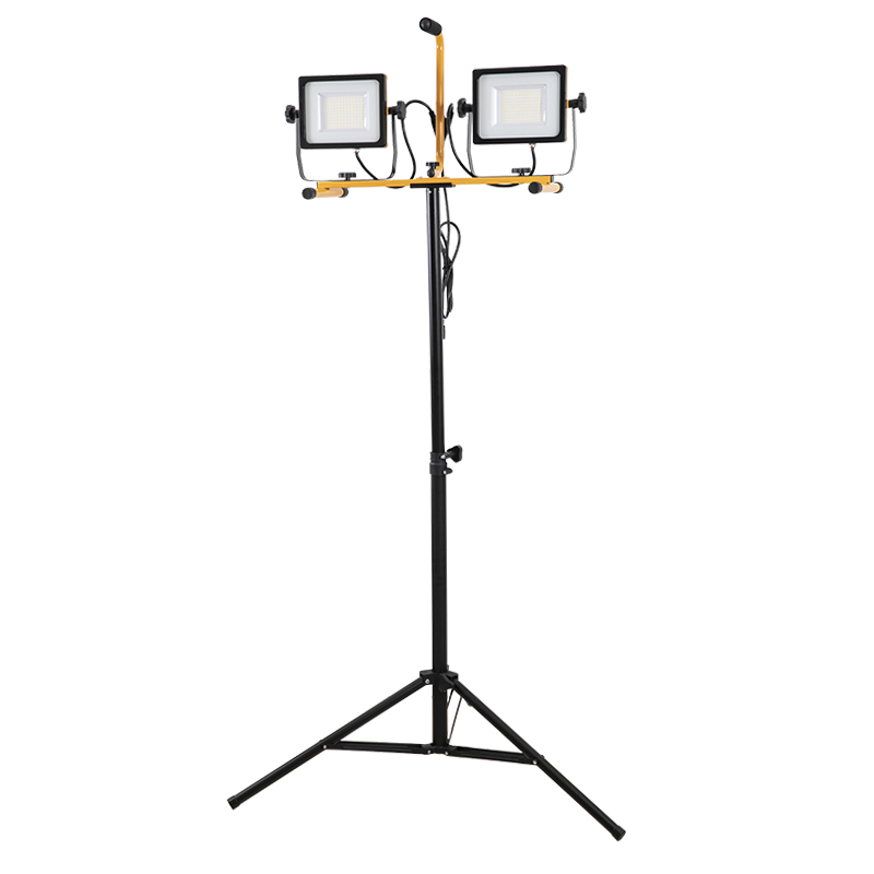 14000 Lumen 70W*2 Dual Head  with Metal Telescopic Tripod Stand LED Work Light use for garage, camping etc