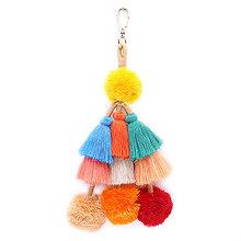 Винтажный брелок в стиле бохо, многослойные подвески с кисточками, градиентные цвета, держатель для ключей, сумка, аксессуары, ювелирное изд...(Китай)