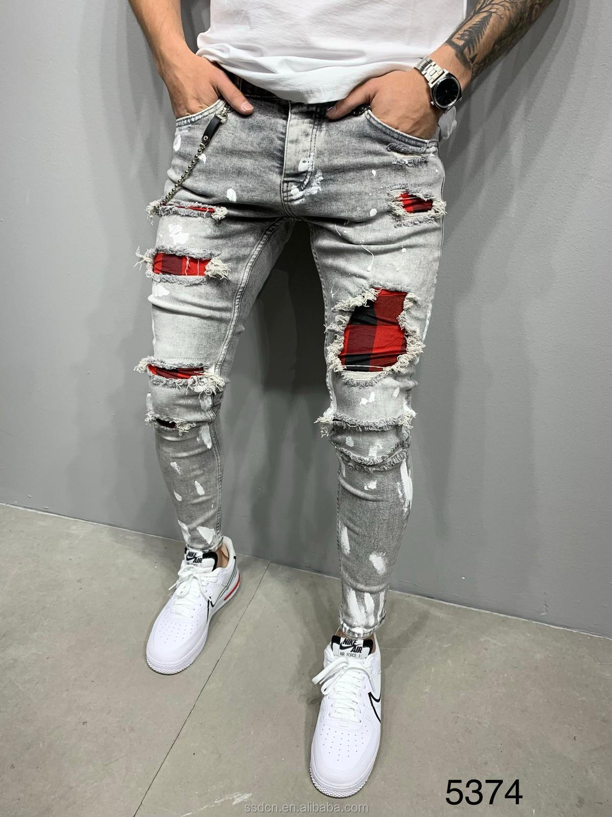 Fashion High Quality Casual Hip Pop Street Jeans Elasticity Stretch Paint Pants Skinny Men Ripped Jeans