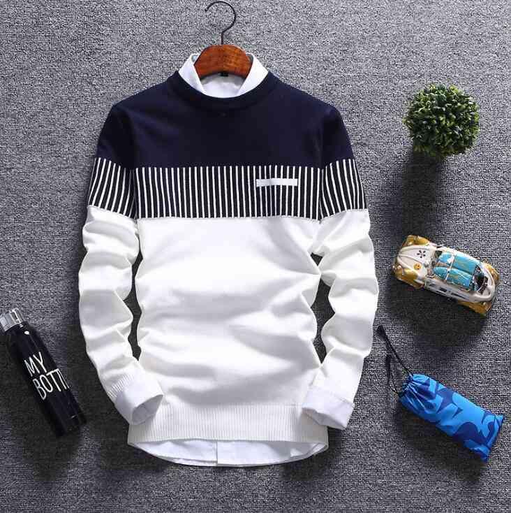 New sweater fashion striped thin sweater Korean trend men's wholesale pullover men's sweater