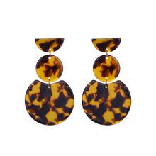 Новый Уникальный Дизайн Леопардовый цвет, акриловый Висячие серьги для женщин, геометрические круглые массивные висячие серьги, ювелирные ...(Китай)