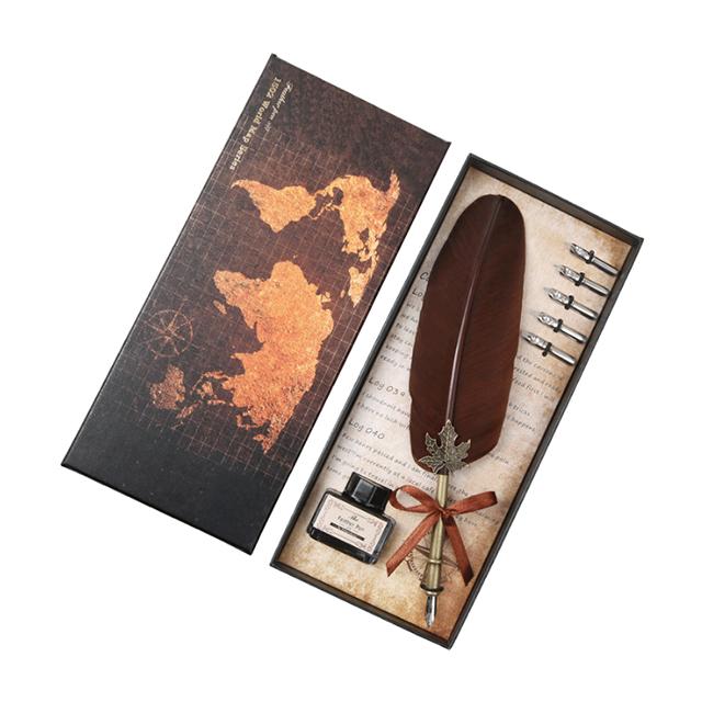 Набор ручек с белыми перьями, свадебные подарочные карандаши для письма, подпись на Рождество