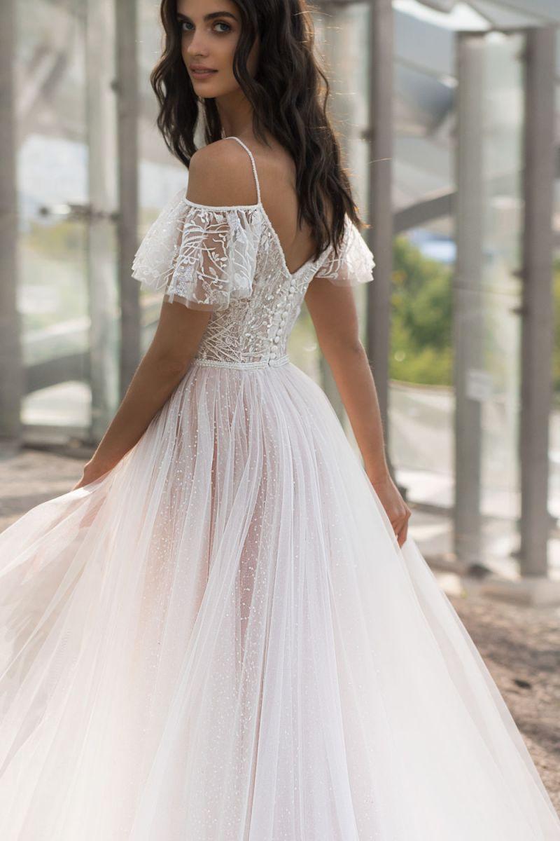2021 Spring  New Large Size Wedding  Show Shoulder Slimming Length Fat Lace Flower One Shoulder Girl Gauze Dress