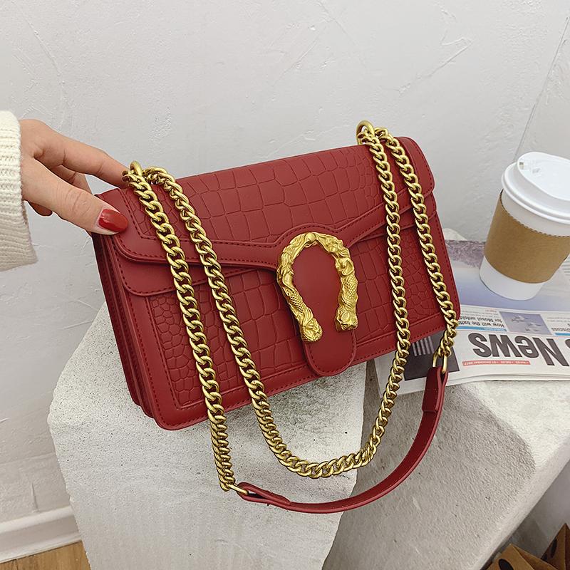 Lock Chain Shoulder Messenger Bags Elegant Female Small Square Bag Leather Bags Women Handbags Ladies