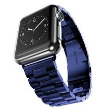 Для Apple Watch Series 5 4 3 2 ремешок 42 мм 40 мм 44 мм черный браслет из нержавеющей стали адаптер для iWatch Band 4 3 38 мм(Китай)