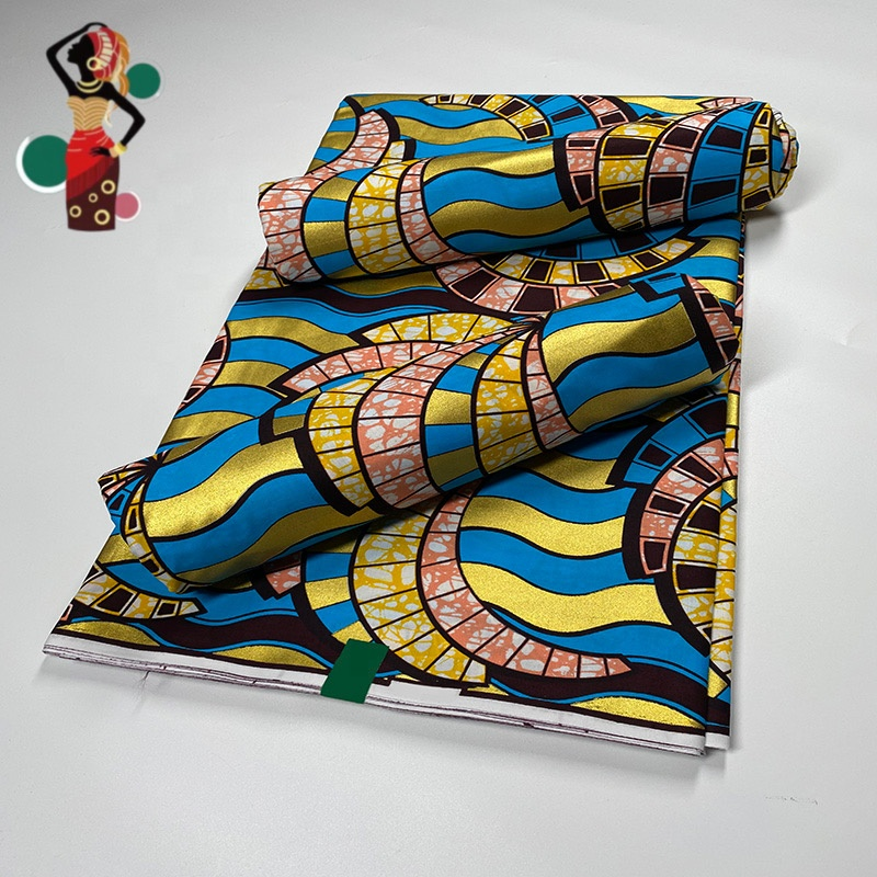 100% Cotton African Wax Fabric Manufacture Print Wax Fabric Ankara Cotton Fabric Real Wax Gold Powder Africa