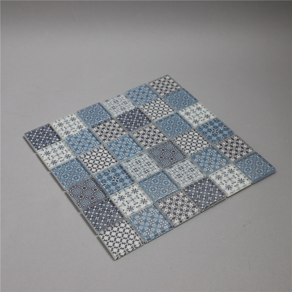 Customized Design Mixed Blue Color Inkjet Printing Artificial Stone Mosaic Bathroom Floor Mosaic