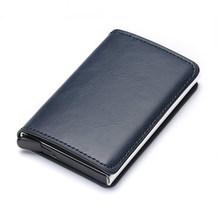 BISI GORO RFID кошелек, держатель для кредитных карт, высокое качество, искусственная кожа, алюминиевый держатель для карт, однотонный цветной мин...(Китай)