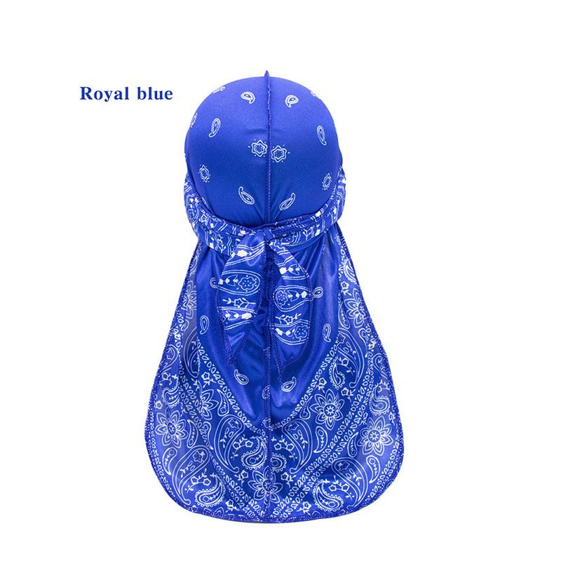 Wholesale women fashion long tie satin lined print bonnet sleep cap