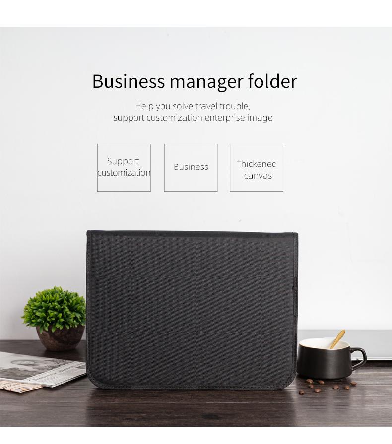 Canvas Fabric A4 Zipper Ring Binder Document File Folder Portfolio