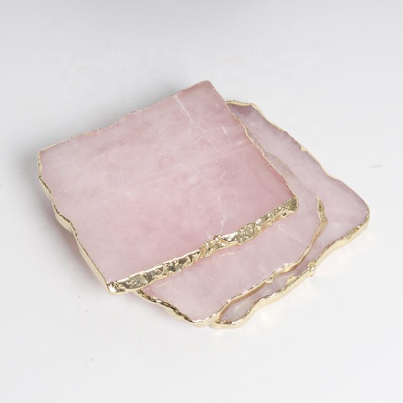 Wholesale natural rose quartz crystal slice rose quartz coasters with gold
