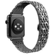 Роскошный Алмазный чехол + ремешок из нержавеющей стали для Apple Watch, 5, 4, 3, 2, 1, ремешок для iWatch, 38 мм, 42 мм, 40 мм, 44 мм, браслет для женщин(China)