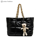 Wholesale Super Cute Shopping Beach Large Women Nylon Tote Bags With Bear Doll Decoration