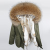 Rabbit fur liner-Green+Natural