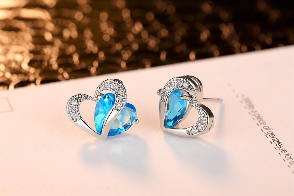 Роскошный кулон сердце циркон серебряное ожерелье из серебра серьги Двойное сердце синий сапфир комплект ювелирных изделий для женщин (KJ077)