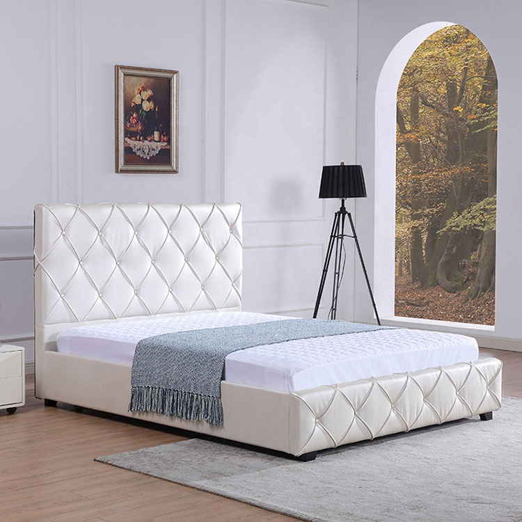 Gorgeous and elegant simple beige PU leather bed hotel bedroom bed