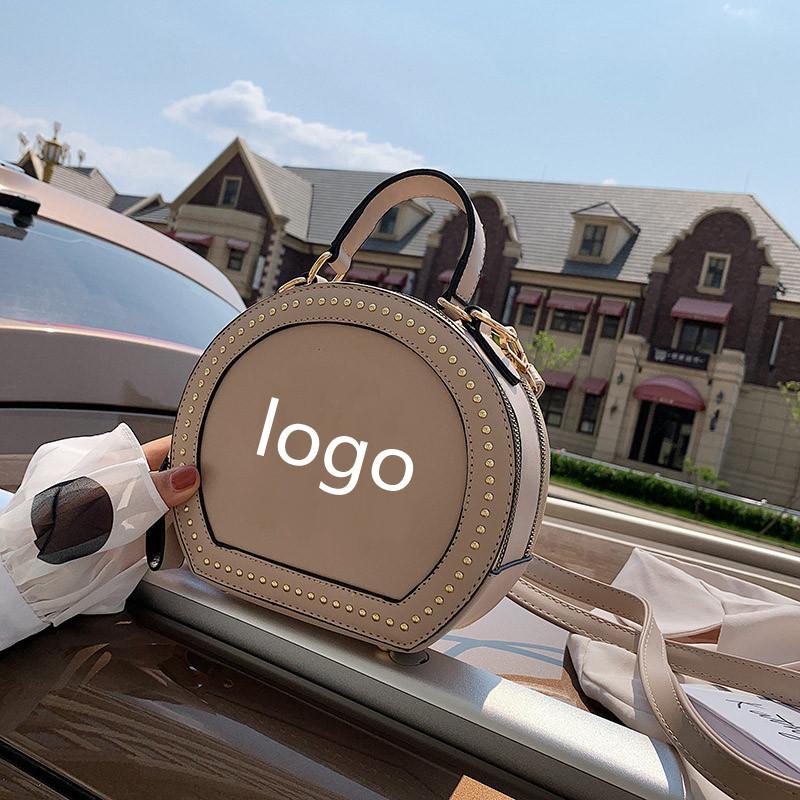 Новинка 2021, сумка на одно плечо NY в стиле ретро, маленькая круглая сумка с заклепками, сумка в иностранном стиле