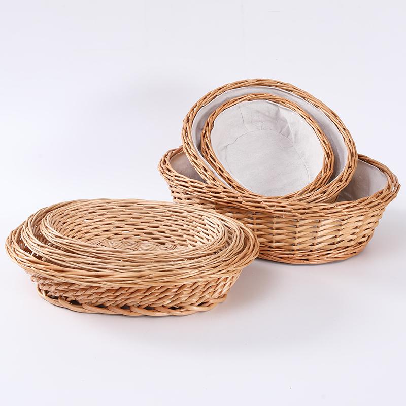 Дешевая плетеная корзина для хлеба ручной работы и корзина для завтрака с подкладкой