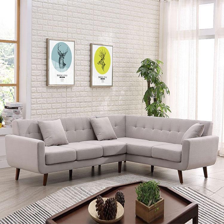 Hot sell luxury living room bedroom furniture light gray corner sofa
