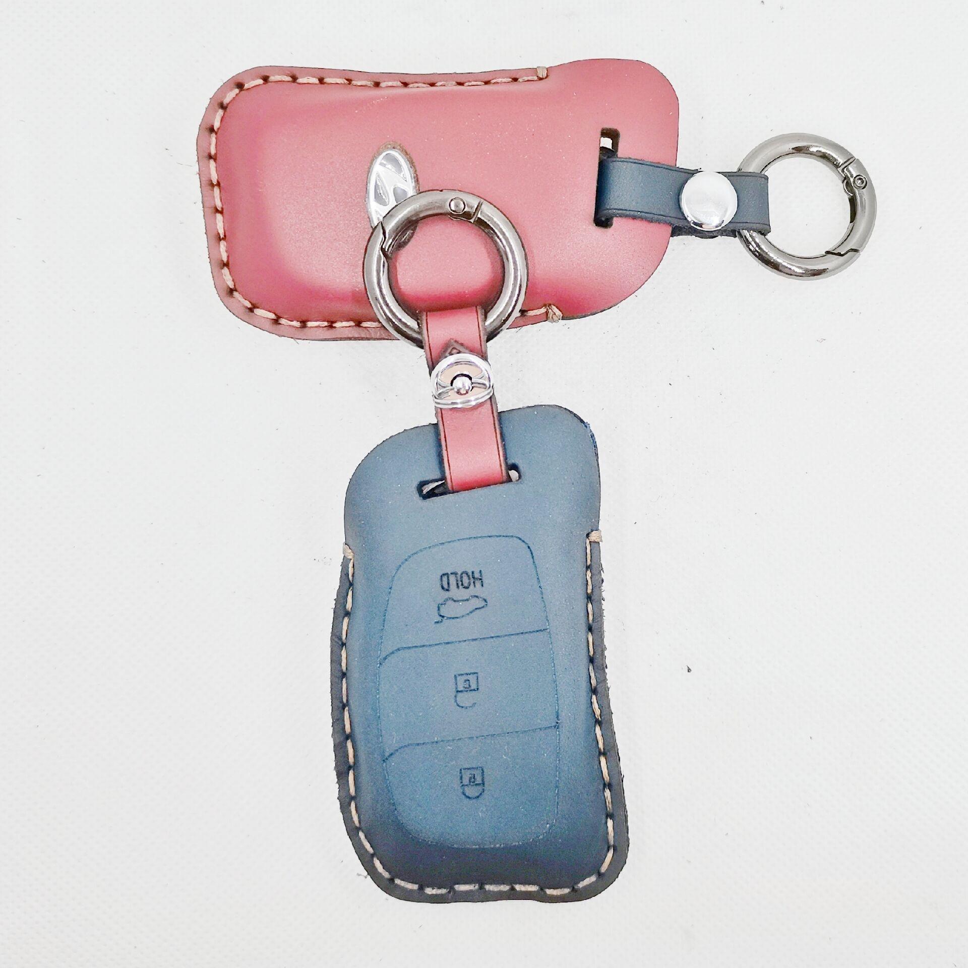 Car Key Case Leather Smart Remote Cover Keychain Protect Bag For Hyundai IX30 IX35 IX20 Tucson Elantra Verna Sonata Accessories