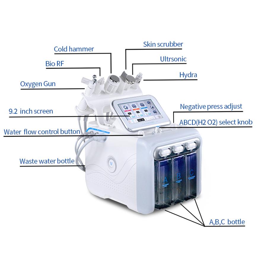 6 In 1 Hidro Hydrodermabrasion Hydra Dermabrasie Facial Portable Aquafacial Hydro-dermabrasion Hydro Oxy Spa Machine With Oxygen