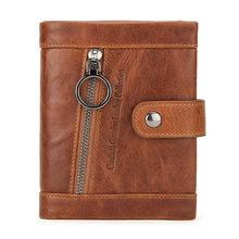 CONTACT'S мужской повседневный кошелек из натуральной кожи, брендовый rfid-кошелек, мужской кошелек, Компактный двойной держатель для кредитных к...(Китай)