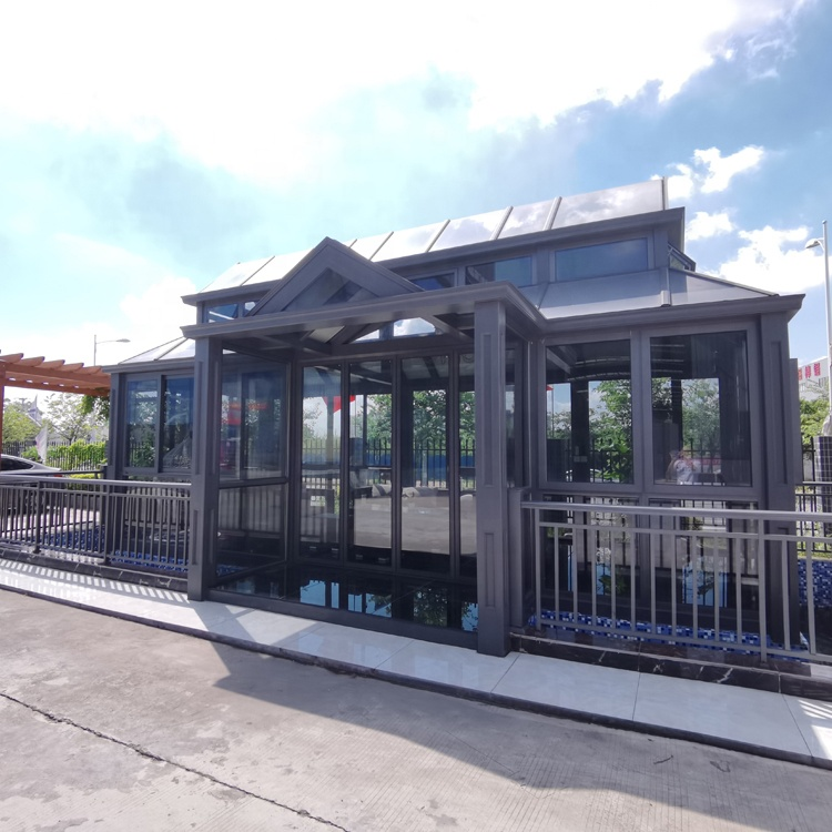 modern design aluminium prefab outdoor glass sun house sunroom with electric roof glass for sale/ glass garden house