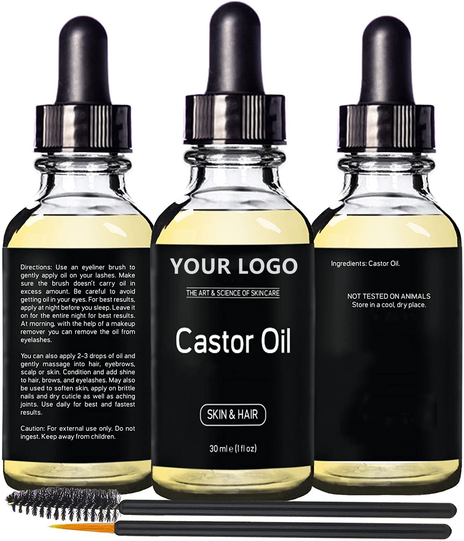 Фирменное органическое увлажняющее черное касторовое масло для роста волос, стимулирует рост ресниц, бровей, эфирное масло касторового цвета