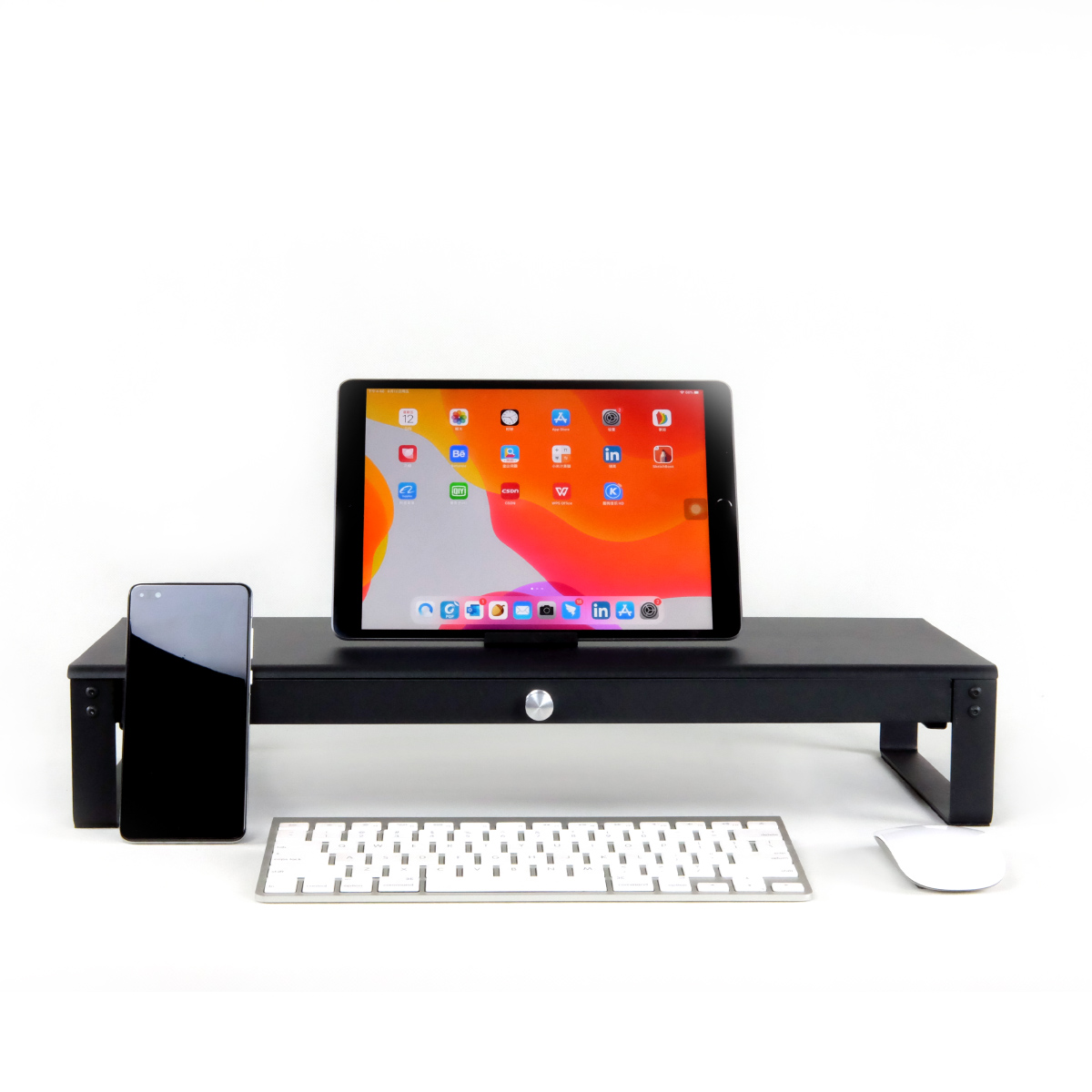 Wholesale High quality metal Steel monitor stand with drawer Ergonomic Desk Organizer