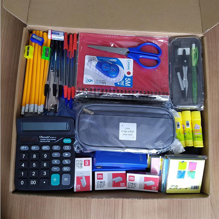 Школьные принадлежности, комплекты канцелярских принадлежностей, наборы принадлежностей для школы для студентов, индивидуальная упаковка и канцелярские наборы с логотипом